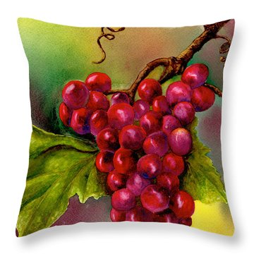 Grape Cluster Throw Pillow by Nan Wright