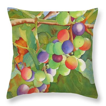 Throw Pillow featuring the painting Grape Fusion by Judy Mercer