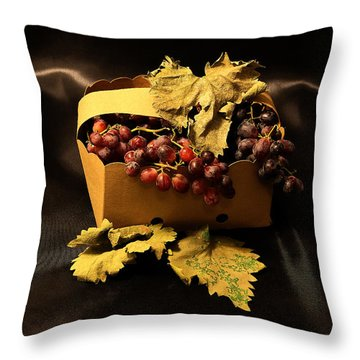 Grape In Basket Throw Pillow