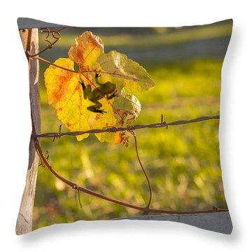Grape Leaf Frog Throw Pillow