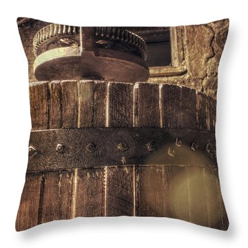 Grape Press At Wiederkehr Throw Pillow by Jason Politte