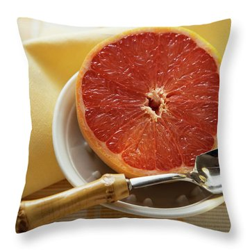 Grapefruit Half With Grapefruit Spoon In A Bowl Throw Pillow