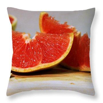 Grapefruit Slices Throw Pillow by Joseph Skompski