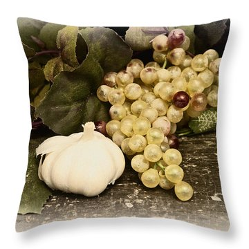 Grapes And Garlic Throw Pillow by Bill Cannon
