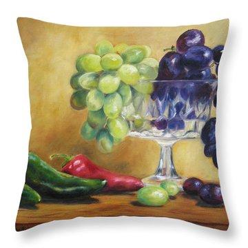 Grapes And Jalapenos Throw Pillow by Lori Brackett