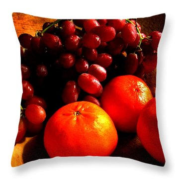 Throw Pillow featuring the photograph Grapes And Tangerines by Greg Allore