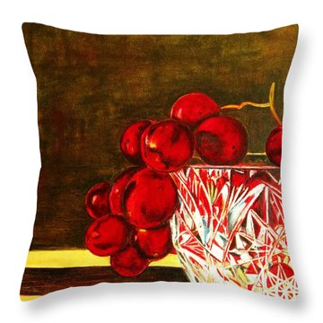 Grapes In A Crystal Bowl Throw Pillow by Margaret Newcomb
