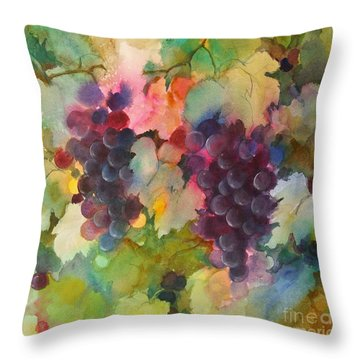 Grapes In Light Throw Pillow by Michelle Abrams