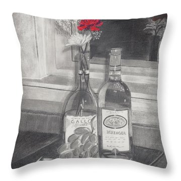 Grapes N Flowers Throw Pillow by Susan Schmitz