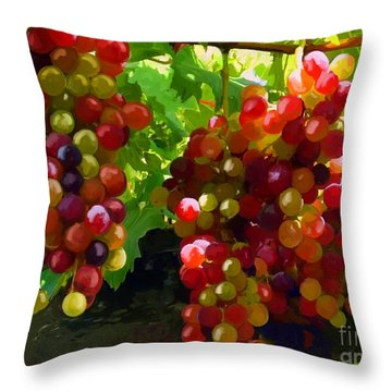 Grapes On The Vine Throw Pillow by Tim Gilliland