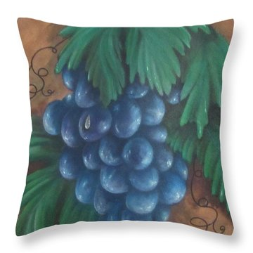 Grapes With Dewdrop Throw Pillow
