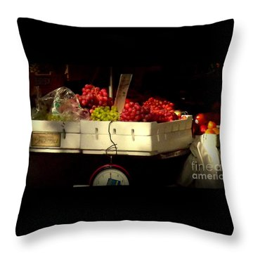 Grapes With Weighing Scale Throw Pillow by Miriam Danar