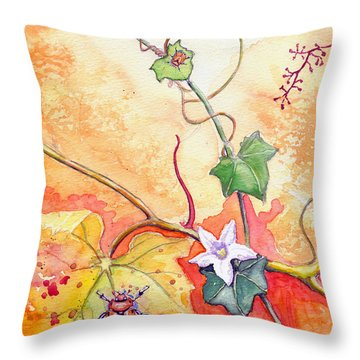 Grapevine Beetle Throw Pillow by Katherine Miller