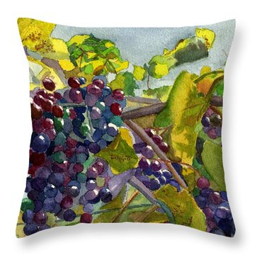 Throw Pillow featuring the painting Grapevines by Lynne Reichhart