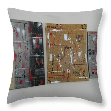 Throw Pillow featuring the painting Graphic Jazz I II IIi by Sharyn Winters