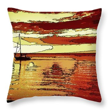 Graphic Rendering Of Kids At Sunset Throw Pillow by Pamela Blizzard