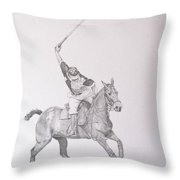 Graphite Drawing - Shooting For The Polo Goal Throw Pillow