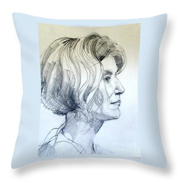 Portrait Drawing Of A Woman In Profile Throw Pillow