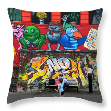 Throw Pillow featuring the photograph Graphitywall by Susanne Baumann