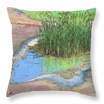 Grass Growing On Rocks Throw Pillow by Teresa Zieba