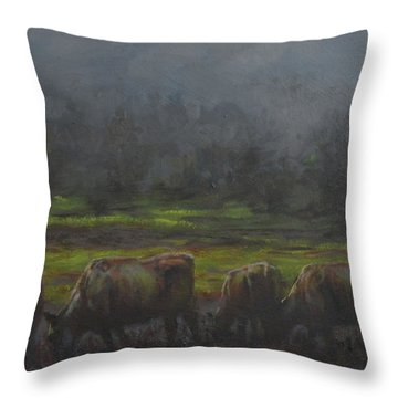 Grass It's What's For Dinner Throw Pillow by Mia DeLode