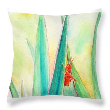 Throw Pillow featuring the painting Grasshopper by C Sitton