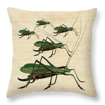 Grasshopper Parade Throw Pillow