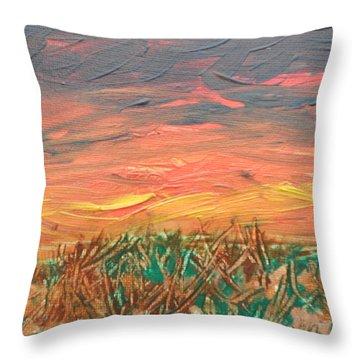 Grassland Sunset Throw Pillow