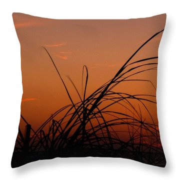 Grassy After Glow Throw Pillow