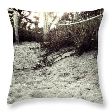 Grassy Beach Post Entrance At Sunset 2 Throw Pillow