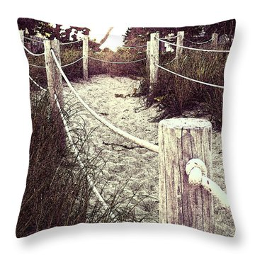 Grassy Beach Post Entrance At Sunset Throw Pillow