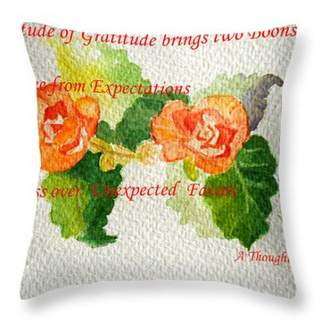 Gratitude Throw Pillow by Geeta Biswas