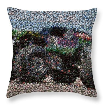 Grave Digger Bottle Cap Mosaic Throw Pillow by Paul Van Scott