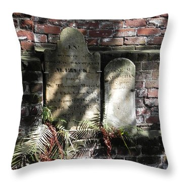 Throw Pillow featuring the photograph Grave Stones With Fern by Patricia Greer