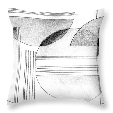 Throw Pillow featuring the drawing Gray And Black Abstract by Mary Bedy