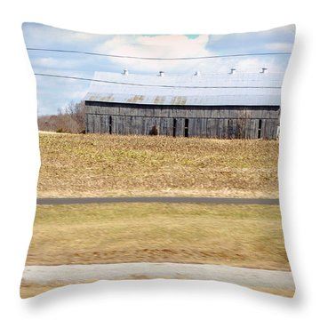 Gray Barn In A Cornfield Throw Pillow by Paulette B Wright