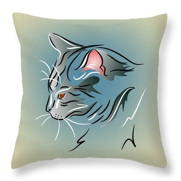Throw Pillow featuring the digital art Gray Cat In Profile by MM Anderson