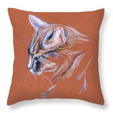 Throw Pillow featuring the pastel Gray Cat In Profile - Pastel by MM Anderson