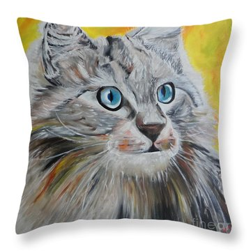 Throw Pillow featuring the painting Gray Cat by PainterArtist FIN