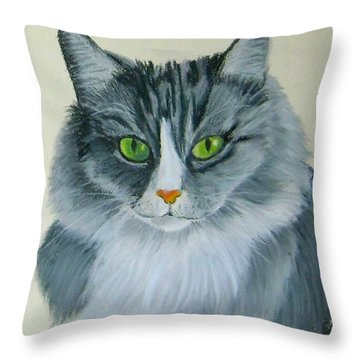 Gray Cat Throw Pillow by Ruth Seal