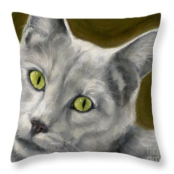 Gray Cat With Green Eyes Throw Pillow by Amy Reges
