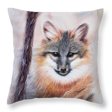 Throw Pillow featuring the drawing Gray Fox by Patricia Lintner