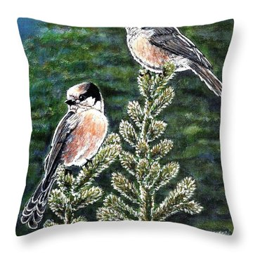 Throw Pillow featuring the painting Gray Jays by VLee Watson