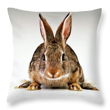 Gray Rabbit Bunny  Throw Pillow by Lanjee Chee