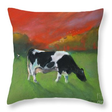 Grazing Cow Throw Pillow