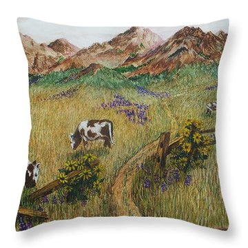 Grazing Cows Throw Pillow by Katherine Young-Beck
