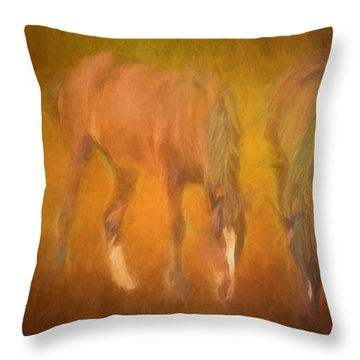 Throw Pillow featuring the photograph Grazing Horses by Clare VanderVeen