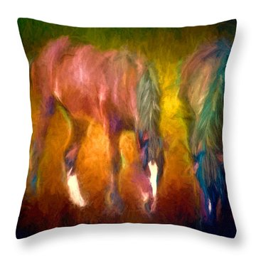Grazing Horses Version 2 Textured Throw Pillow