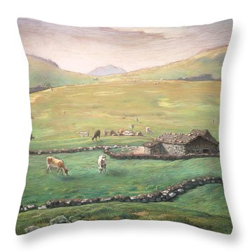 Grazing In The Vosges Throw Pillow