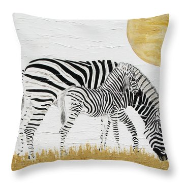 Throw Pillow featuring the painting Grazing Together by Stephanie Grant